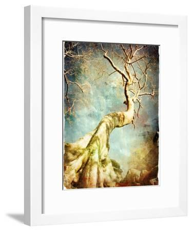 Ancient Tree Of Cambodian Temple - Artistic Retro Picture-Maugli-l-Framed Art Print