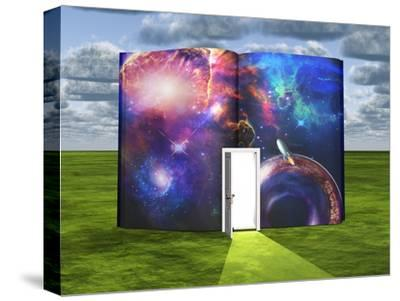 Book With Science Fiction Scene And Open Doorway Of Light-rolffimages-Stretched Canvas Print