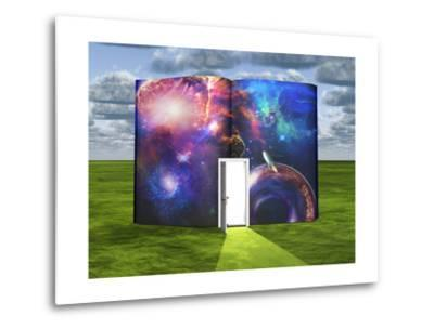 Book With Science Fiction Scene And Open Doorway Of Light-rolffimages-Metal Print
