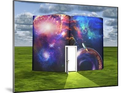 Book With Science Fiction Scene And Open Doorway Of Light-rolffimages-Mounted Art Print