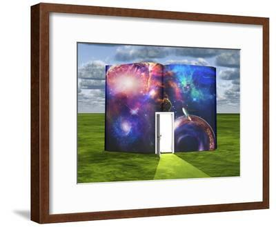 Book With Science Fiction Scene And Open Doorway Of Light-rolffimages-Framed Art Print