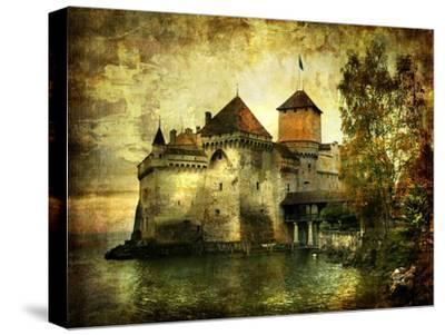 Mysterious Castle On The Lake - Artwork In Painting Style-Maugli-l-Stretched Canvas Print