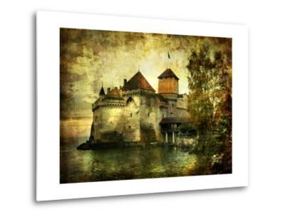 Mysterious Castle On The Lake - Artwork In Painting Style-Maugli-l-Metal Print