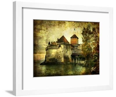 Mysterious Castle On The Lake - Artwork In Painting Style-Maugli-l-Framed Art Print