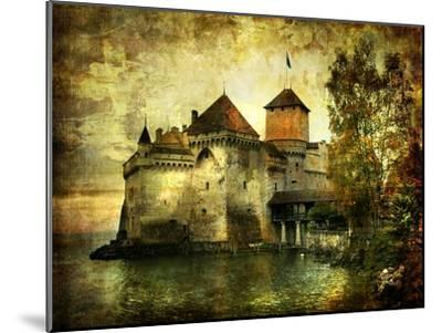 Mysterious Castle On The Lake - Artwork In Painting Style-Maugli-l-Mounted Art Print