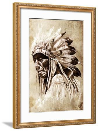 Sketch Of Tattoo Art, Indian Head, Chief, Vintage Style-outsiderzone-Framed Art Print