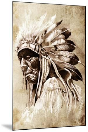 Sketch Of Tattoo Art, Indian Head, Chief, Vintage Style-outsiderzone-Mounted Art Print