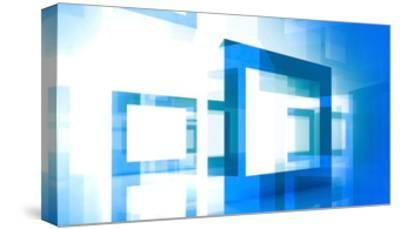 Abstract Technology Background With Blue Square Frames-Eugene Sergeev-Stretched Canvas Print