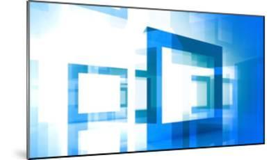 Abstract Technology Background With Blue Square Frames-Eugene Sergeev-Mounted Art Print