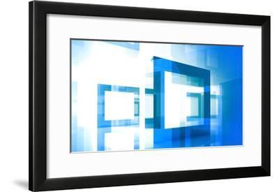 Abstract Technology Background With Blue Square Frames-Eugene Sergeev-Framed Art Print