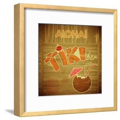 Retro Design Tiki Bar Menu On Wooden Background Elfivetrov Framed Art Print