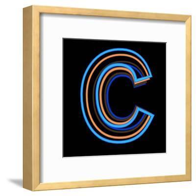 Glowing Letter C Isolated On Black Background-Andriy Zholudyev-Framed Art Print