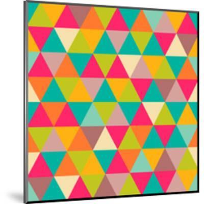 Abstract Geometric Triangle Seamless Pattern-Heizel-Mounted Art Print