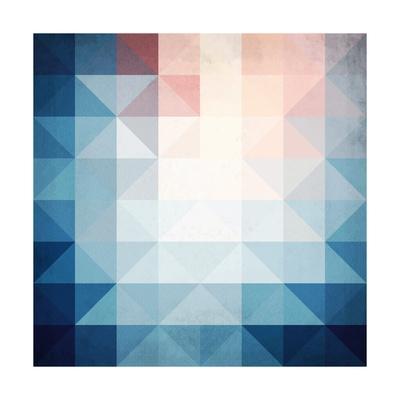 Abstract Blue Triangles Geometry-art_of_sun-Art Print