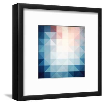 Abstract Blue Triangles Geometry-art_of_sun-Framed Art Print