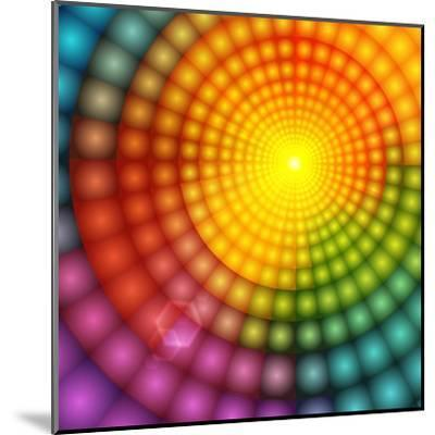 Abstract Colorful Shining Circle Tunnel Background-art_of_sun-Mounted Art Print