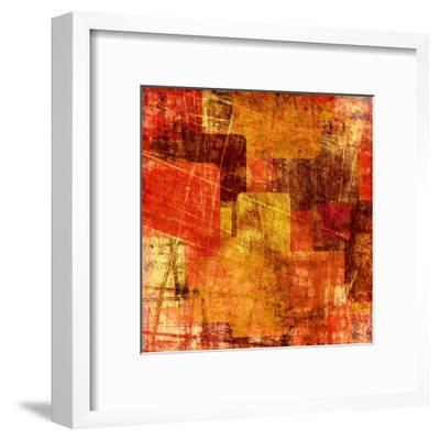 Squares On The Grunge Wall, Abstract Background-molodec-Framed Art Print