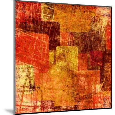Squares On The Grunge Wall, Abstract Background-molodec-Mounted Art Print
