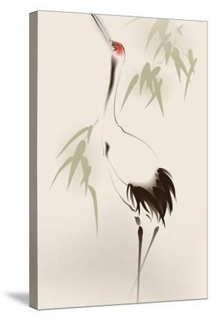 Oriental Style Painting, Red-Crowned Crane-ori-artiste-Stretched Canvas Print