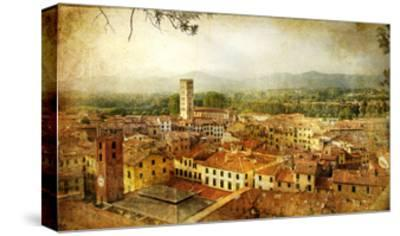 Ancient Town Lucca- Tuscany - Retro Styled Picture-Maugli-l-Stretched Canvas Print