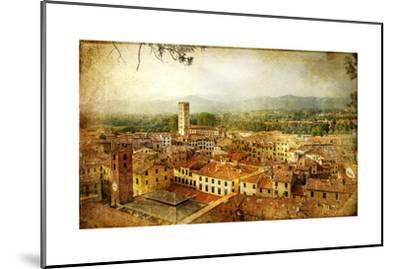 Ancient Town Lucca- Tuscany - Retro Styled Picture-Maugli-l-Mounted Art Print