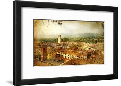 Ancient Town Lucca- Tuscany - Retro Styled Picture-Maugli-l-Framed Art Print