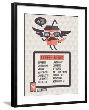 Cafe Menu. Seamless Background And Design Elements-ussr-Framed Art Print