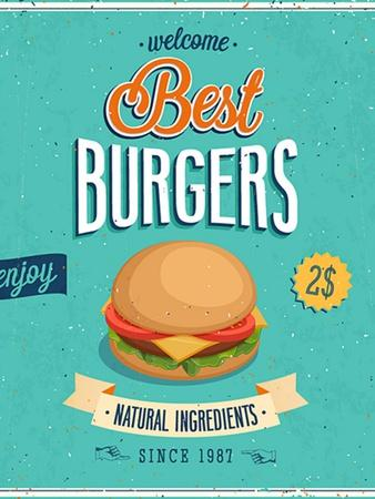 Vintage Burgers Poster-avean-Framed Art Print