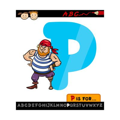 Letter P With Pirate Cartoon Illustration-Igor Zakowski-Art Print