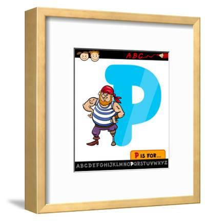 Letter P With Pirate Cartoon Illustration-Igor Zakowski-Framed Art Print