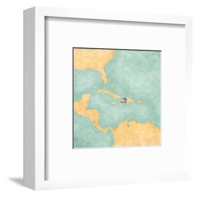 Map Of Caribbean - Haiti (Vintage Series)-Tindo-Framed Art Print