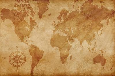 Computer Generated Old Map Of The World- alehnia-Stretched Canvas Print