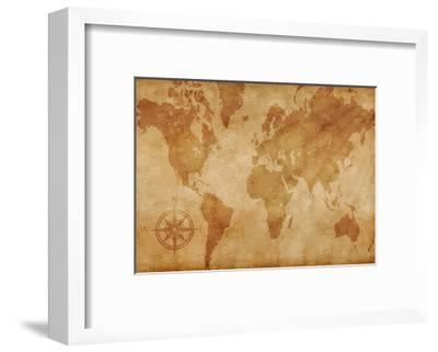 Computer Generated Old Map Of The World- alehnia-Framed Art Print