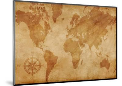 Computer Generated Old Map Of The World- alehnia-Mounted Art Print