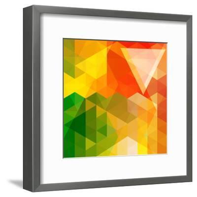 Colorful Mosaic Background Made Of Triangle Shapes-OlgaYakovenko-Framed Art Print