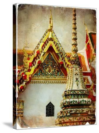 Grand Palace - Bangkok - Retro Styled Picture-Maugli-l-Stretched Canvas Print