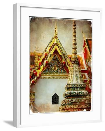 Grand Palace - Bangkok - Retro Styled Picture-Maugli-l-Framed Art Print