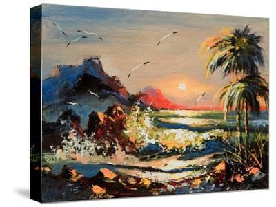 Sea Landscape With Palm Trees And Seagulls-balaikin2009-Stretched Canvas Print