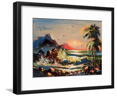 Sea Landscape With Palm Trees And Seagulls-balaikin2009-Framed Art Print