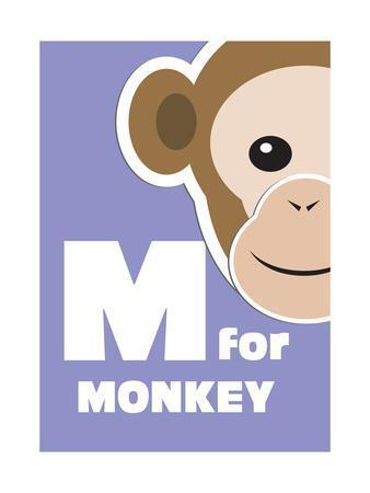 M For The Monkey, An Animal Alphabet For The Kids-Elizabeta Lexa-Framed Art Print