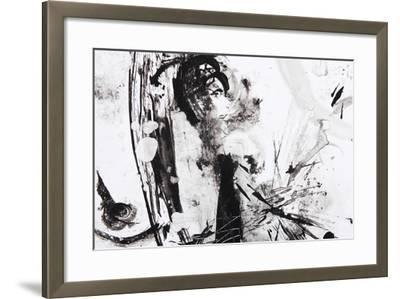 Black And White Abstract Brush Painting-shooarts-Framed Art Print