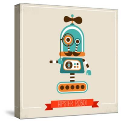 Hipster Robot Toy Icon And Illustration-Marish-Stretched Canvas Print