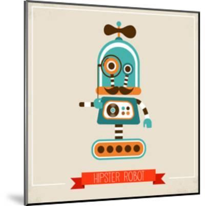 Hipster Robot Toy Icon And Illustration-Marish-Mounted Art Print