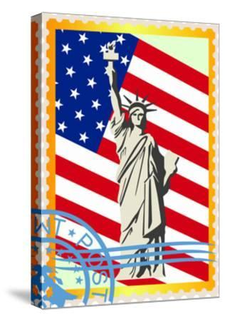 Postage Stamps With The Flag And The Statue Of Liberty- GUARDING-OWO-Stretched Canvas Print