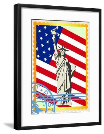 Postage Stamps With The Flag And The Statue Of Liberty- GUARDING-OWO-Framed Art Print