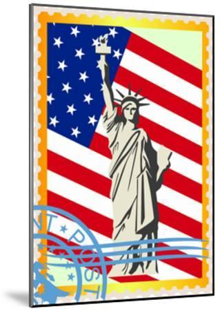 Postage Stamps With The Flag And The Statue Of Liberty- GUARDING-OWO-Mounted Art Print