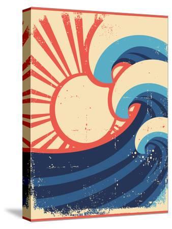 Sea Waves Poster.Grunge Illustration Of Sea Landscape-GeraKTV-Stretched Canvas Print