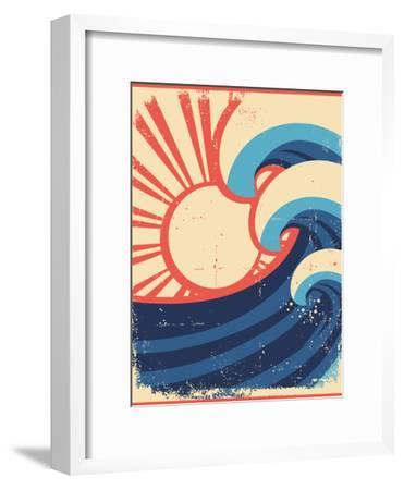 Sea Waves Poster.Grunge Illustration Of Sea Landscape-GeraKTV-Framed Art Print