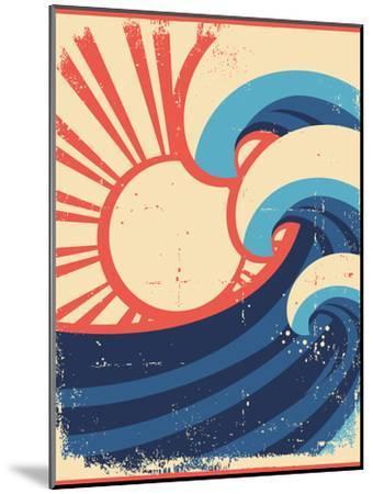 Sea Waves Poster.Grunge Illustration Of Sea Landscape-GeraKTV-Mounted Art Print