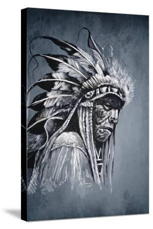Native American Indian Head, Chief, Vintage Style-outsiderzone-Stretched Canvas Print